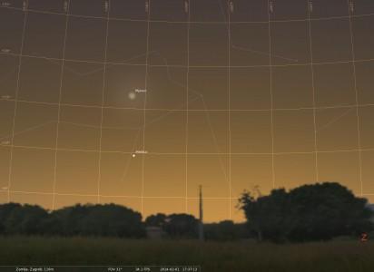 Mjesec i Merkur na zapadnom nebu 1. veljače. Oznake prikazuju visinu iznad obzora.