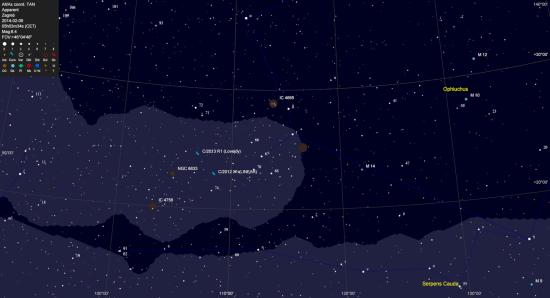 Detaljna karta za traženje kometa. Granična magnituda zvijezda odgovara pogledu kroz 50mm dalekozor.