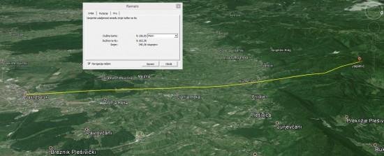 Google Earth prikaz udaljenosti Jastrebaskog od Japetića