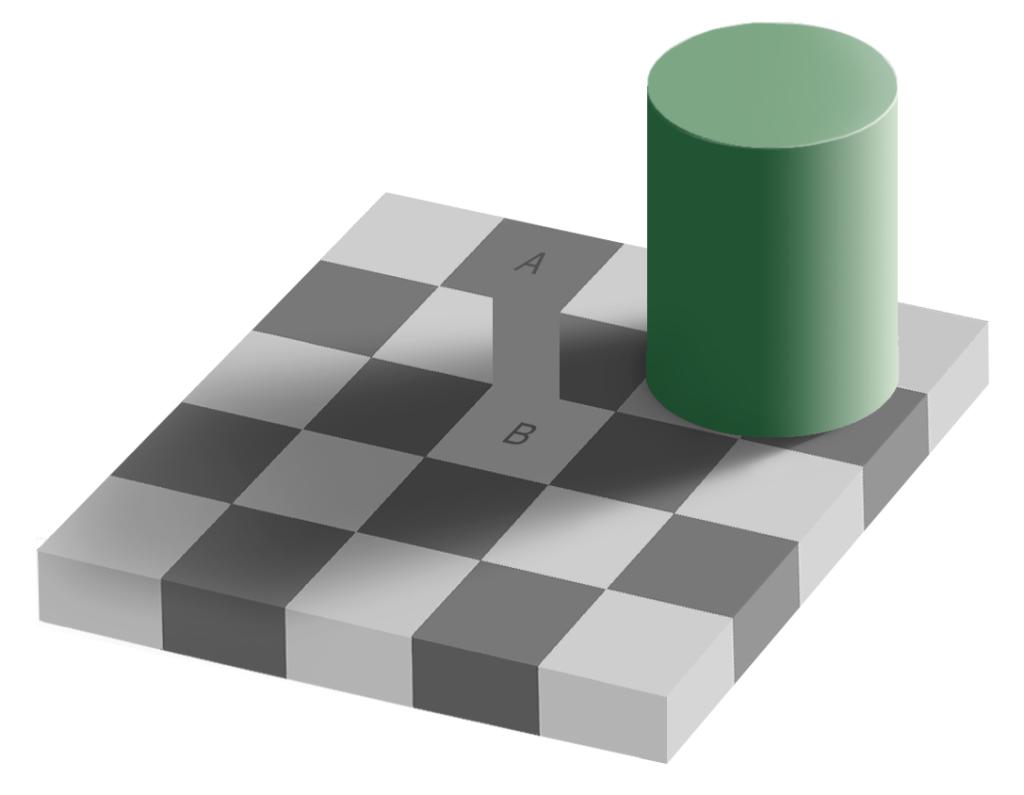Polja A i B jednakih su niansi sive.