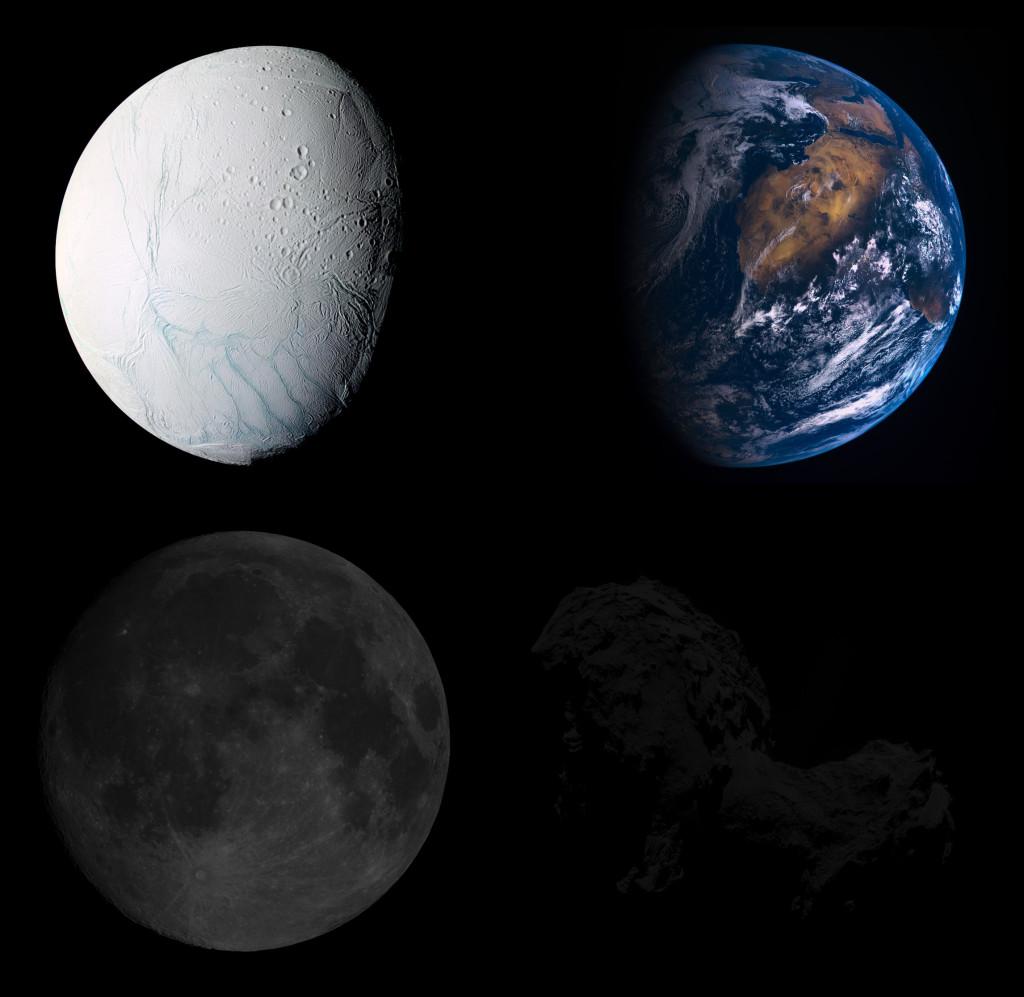 Usporedba albeda Enceladusa, Zemlje, Mjeseca i kometa 67P/Churyumov-Gerasimenko
